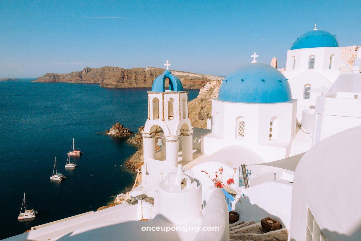Three Blue Domes Oia Santorini itinerary