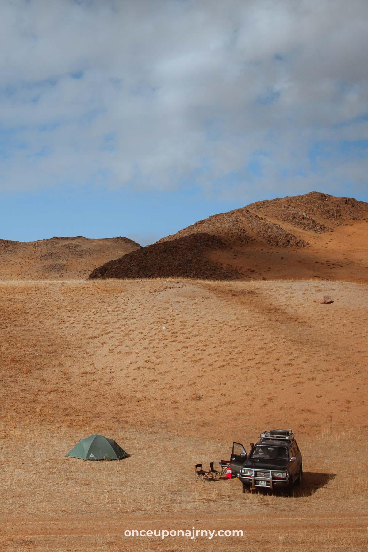 Camping in the Mongolian desert Gobi