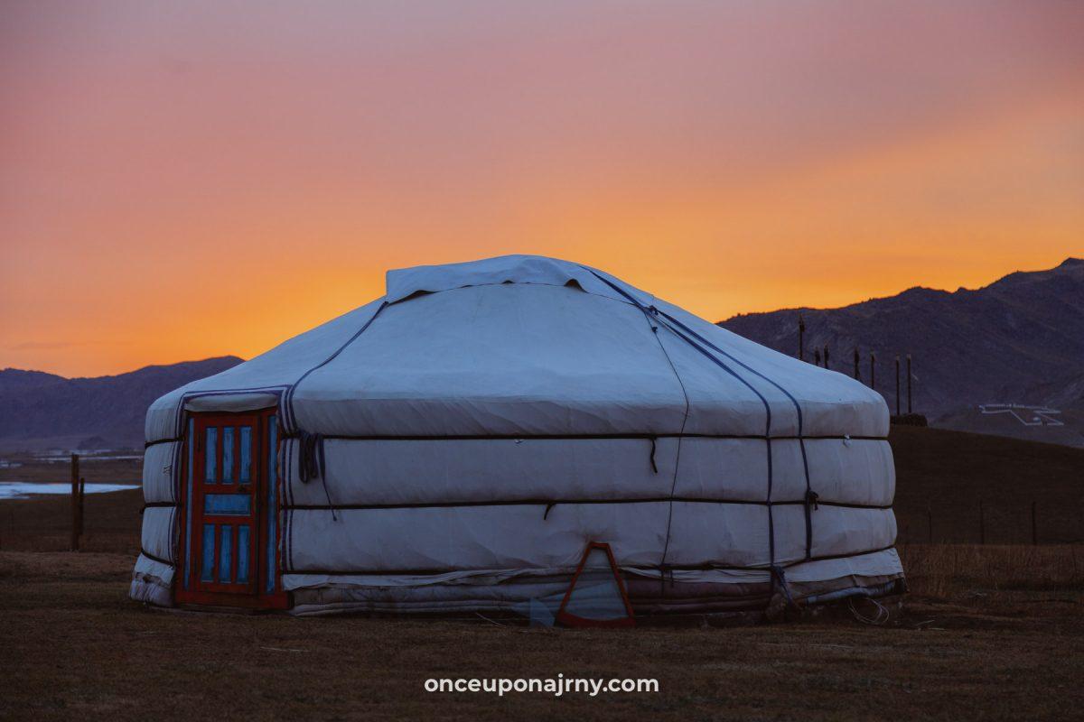 Mongolian yurt ger during sunset