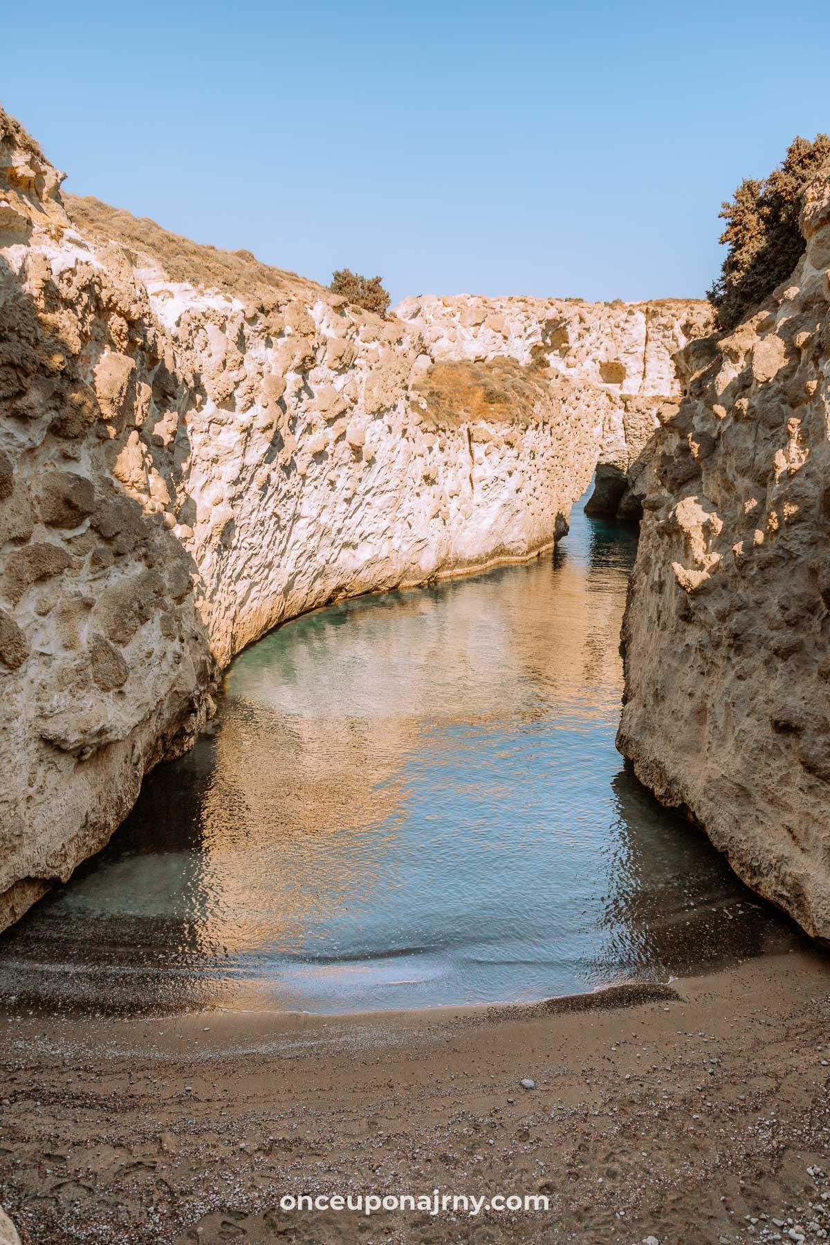 Papafragas Caves Beach Milos Beaches
