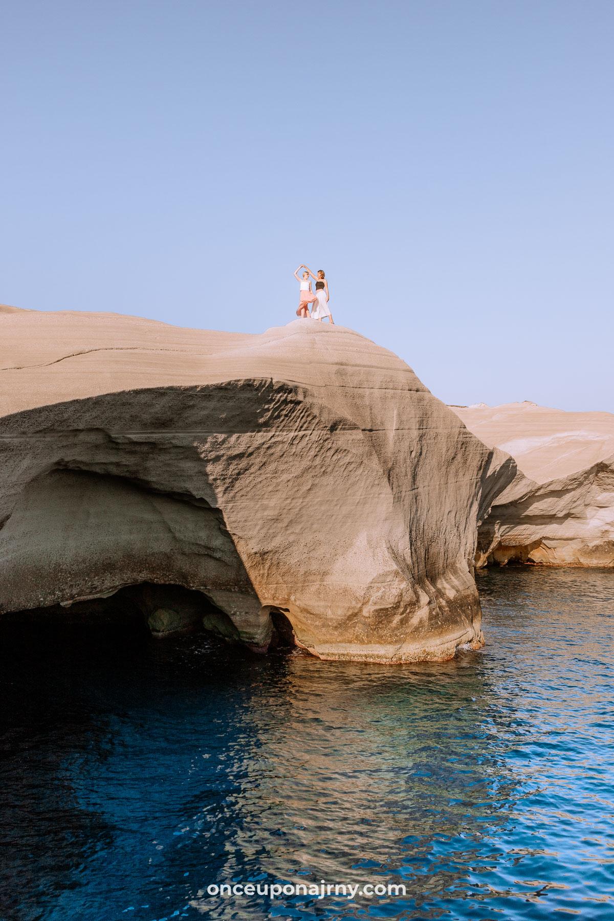 Sarakiniko Beach Cliff Jumping Milos Greece