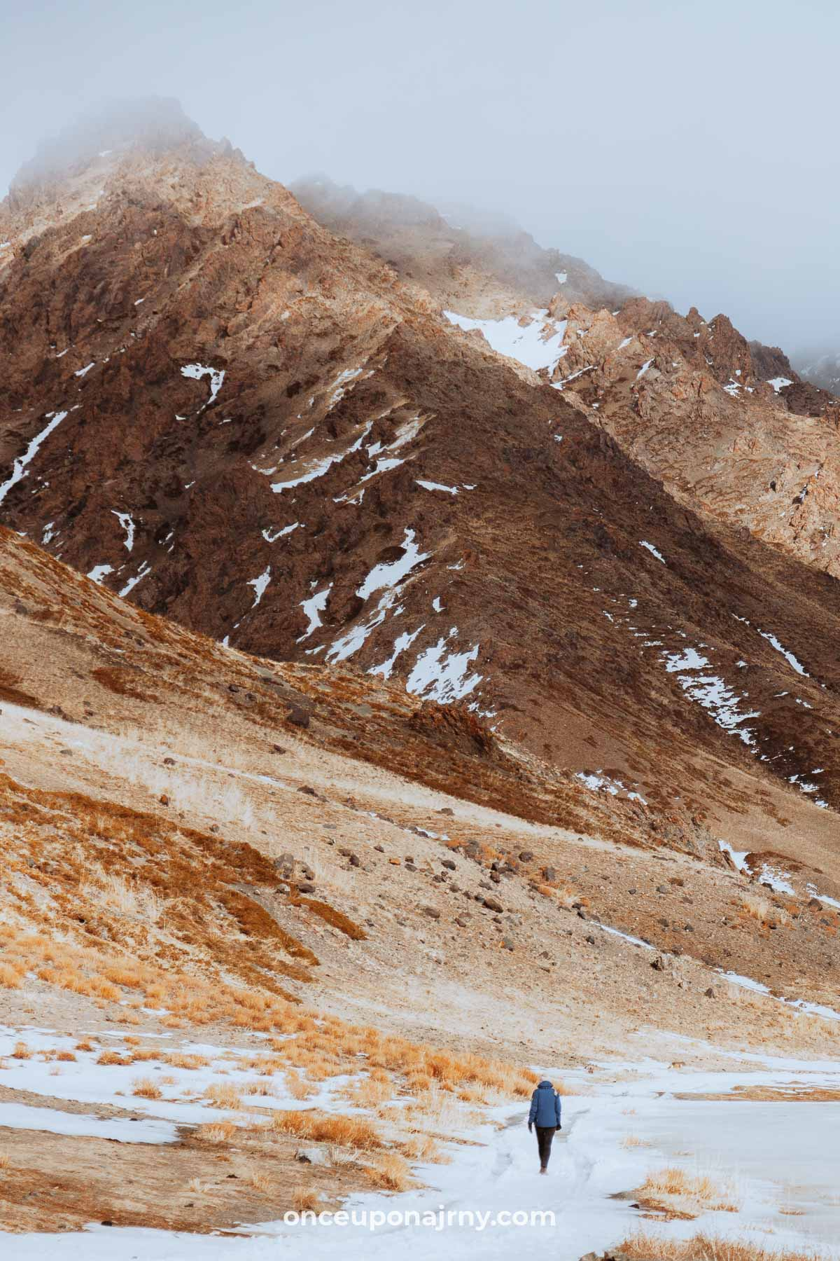 Yolin Am Canyon Gorge in Gurvan Saikhan Mountains Mongolia hike